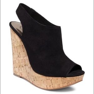 Carlos Santana Black Cork Wedges
